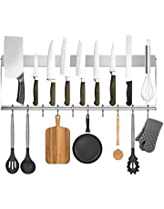 Hokyzam 24 Inch Magnetic Knife Strip Holder with 10 Hooks Upgraded Version Stainless Steel Magnetic Knife Bar Block Wall Mounted Kitchen Organizer for Kitchen Utensil Holder, Tool Holder Organizer