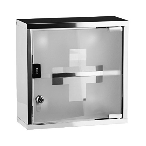 Medical Cabinet First Aid Locking Door and 2 Shelves for Medicine & Bandages, Made of Stainless Steel & frosted Glass. Wall Mount Storage Container 12 x 5 x 5 - First 5 Aid Shelf