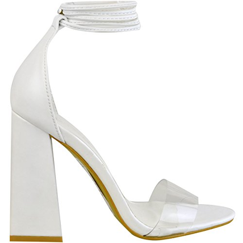 Fashion Thirsty Heelberry® New Womens Perspex Clear Block Heel Strappy Sandals Ankle Lace Tie up Size White Faux Leather BkT5wM
