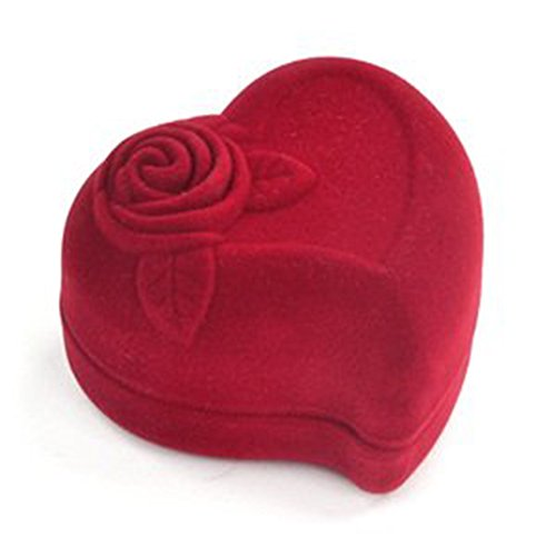 Mallofusa Heart-shaped Velvet Red Gift Box Case for Ring Earring Jewelry - Heart Ring Box