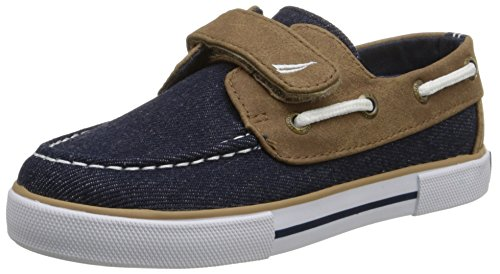 (Nautica Boys' Little River 2 Boat Shoe-K, Denim/Brown, 12 M US Kid )