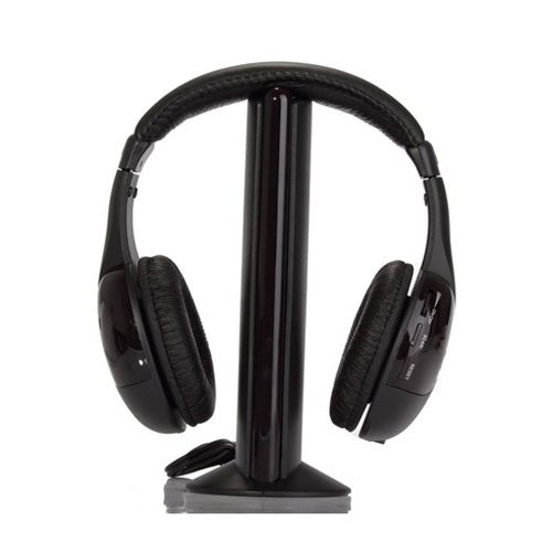 Lowpricenice MH2001 5-in-1 Wireless Headphones w/Microphone Emitter & FM Radio - Listen to Music, Chat Online & Monitor Other ()