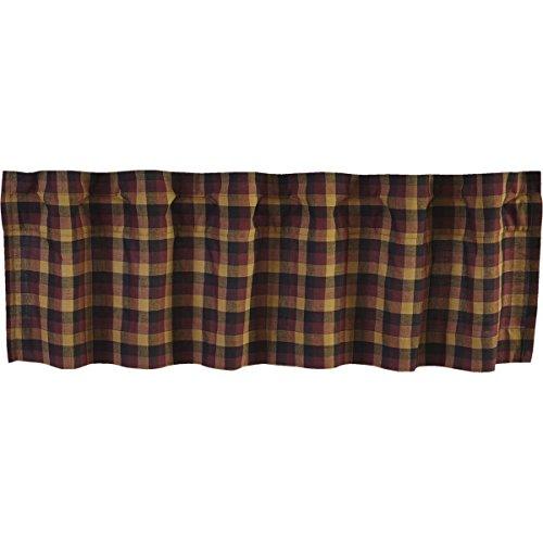 Heritage Star Valance - VHC Brands Primitive Kitchen Window Curtains - Heritage Farms Red Valance, 16x72, Deep Burgundy