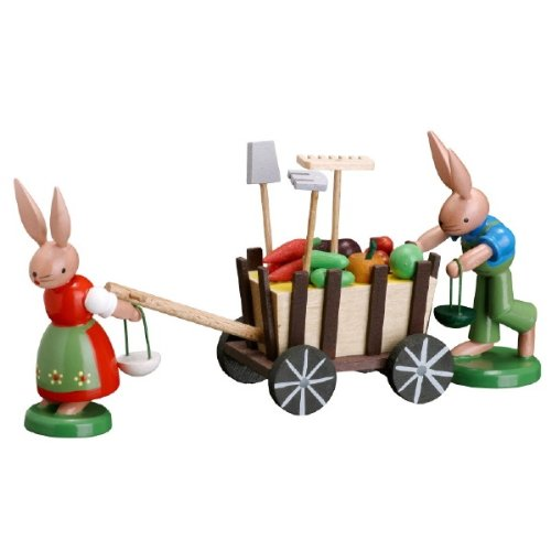 Zeidler Bunnies Moving Harvest Wagon Made in Germany