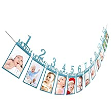 Chartsea Kids Birthday Gift Decorations 1-12 Month Photo Banner Monthly Photo Wall (Bule)