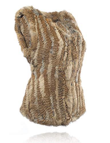 100 Punto Natural Conejo de Chaleco de Brown HEIZZI el Piel 71qw7Z