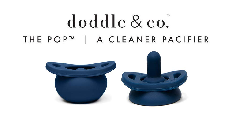 Doddle /& Co A Cleaner Baby Pacifier Made with 100/% High Grade Silicone and Self Containing Protective Case Navy About You The Pop Pacifier