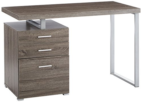Coaster Contemporary Weathered Grey Writing Desk with File Drawer and Reversible Set-Up -