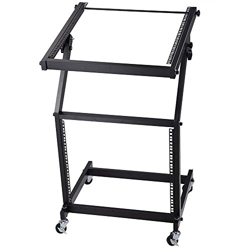 AW DJ Rack Mount Studio Mixer Stand Stage Cart w/ Wheel Adjustable Music Equipment Party Show - Stand Rack Studio