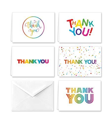 Paper Frenzy Colorful Rainbow Thank You Note Cards and Envelopes - 25 pack Perfect for Schools, Teachers and Children (1st Birthday Thank You)
