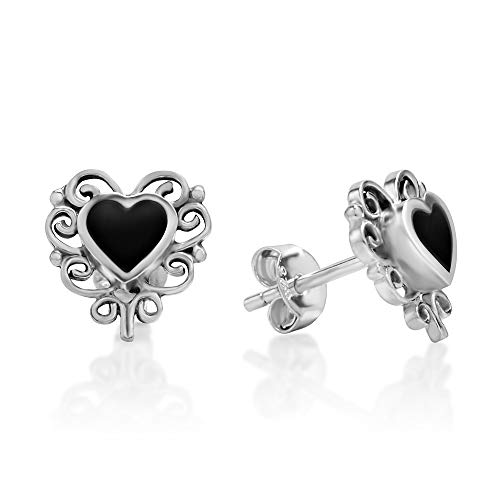 (925 Sterling Silver Bali Inspired Black Onyx Gemstone Filigree Heart 11 mm Post Stud Earrings)