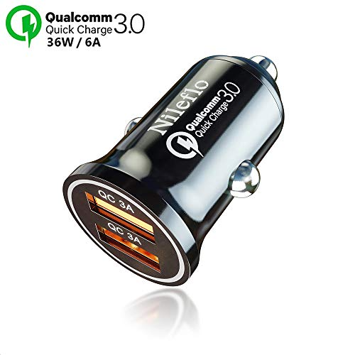 Dual USB Car Charger Adapter: Fast Charging 36W /6A Cigarette Lighter Power Outlet for Phone/Device - Compatible with 5, 6, 7, 8 X,Plus, iPad 2, Mini, Samsung Galaxy s8, s7, Android Smartphones