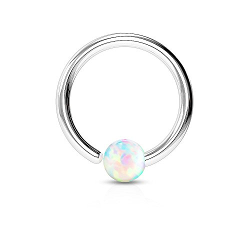 Dynamique 16g 316L Surgical Steel Opal Ball Fixed on End Hoop Ring (Opal White) ()