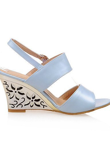 Dress Shoes Womens ShangYi Beige Wedge Blue Sandals Wedges Heel Silver amp; Silver Office Career Rz1qxn1