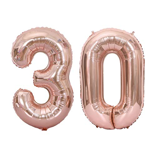 Juland Rose Gold Number 30 Balloons Large Foil Mylar Balloons 40 Inch Giant Jumbo Number Balloons for 30th Birthday Party Decorations]()