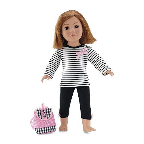- 18 Inch Doll Clothes | Pink, Black and White Back to School Outfit with Long Sleeved T-Shirt, Leggings and Backpack | Fits American Girl Dolls