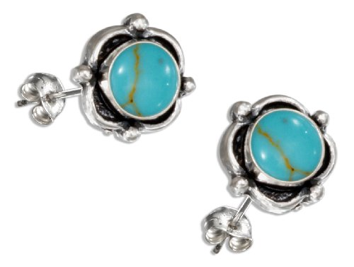 Sterling Silver Small Round Simulated Turquoise Concho Post Earrings