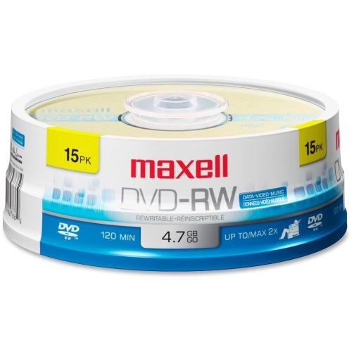 Maxell 2x DVD-RW Media - 4.7GB - 15 Pack by Maxell