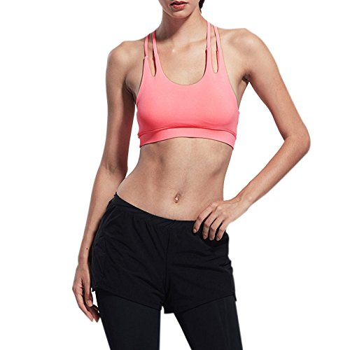WeterCos (TM) (TM) Professional Women Sport Bra Running Yoga Push Up Shockproof Wirefree Crop Top Gym Fitness Vest B2Cshop(S White)