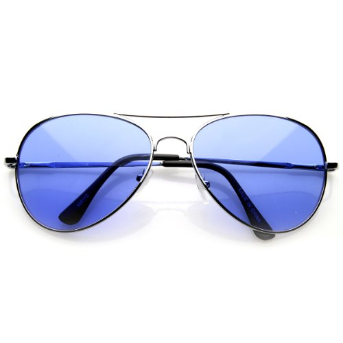 Colorful Premium Silver Metal Aviator Glasses with Color Lens Sunglasses (Blue)