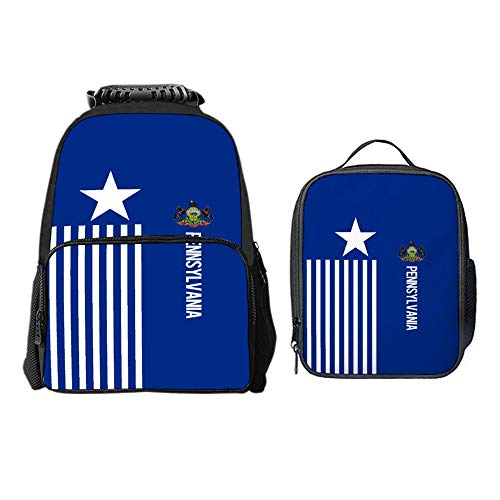 (SARA NELL Boys Girls Students American Pennsylvania Flag Design Polyester School Backpack and Lunch Bag 2 Sets)