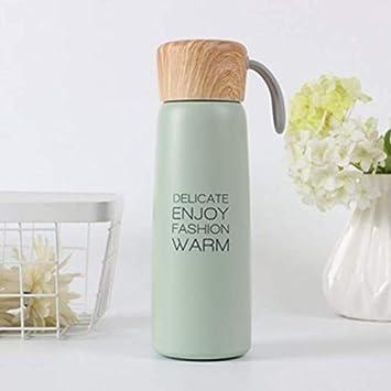 RKZM Taza de Termo portátil de Acero Inoxidable con Cubierta de Madera Frasco de vacío al Aire Libre Botella de Agua Termal 500Ml