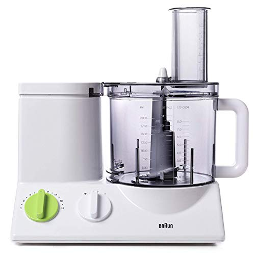 Braun FP3020 12 Cup Food Processor Ultra Quiet Powerful motor, includes 7 Attachment Blades + Chopper and Citrus Juicer , Made in Europe with German Engineering (Renewed) (Juice Maker Braun)