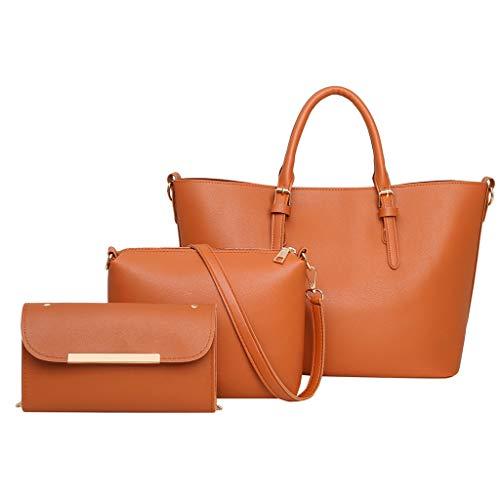 ♛Shiretel Bag IAMUP Women's Solid Color Handbag Fashion Casual Messenger Bag Three-Piece Large-Capacity Coin -