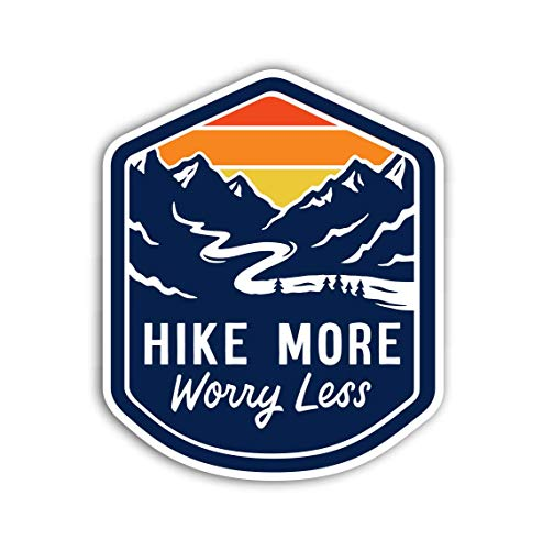 Hike More Worry Less Sticker Vinyl Decal for Auto Cars Trucks Windshield Laptop RV (Best Hiking Stickers)