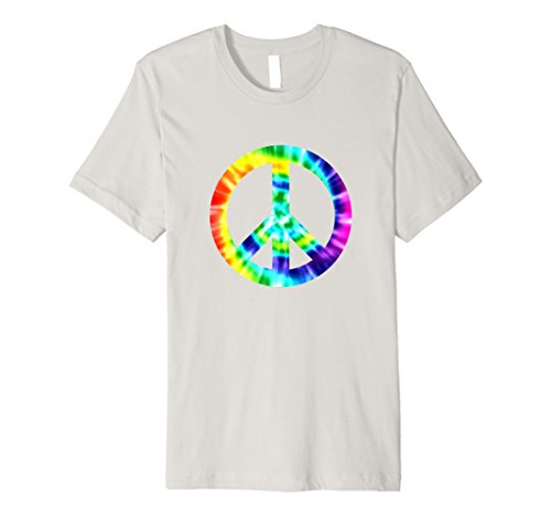 Tie Dye Peace Sign T Shirt 60s 70s Hippy Costume Slim Fit