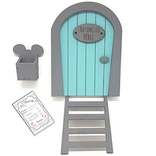Puerta Ratoncito Pérez azul de madera,con escalera,buzón y certificado. Producto artesanal hecho en España: Amazon.es: Handmade