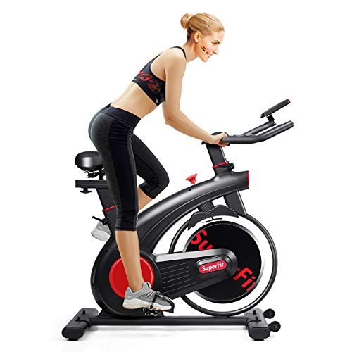 Goplus Indoor Cycling Bike, Silent Belt Drive Exercise Bike with Phone Holder, Adjustable Seat, LCD Monitor, Stationary Bicycle for Home Gym Workout Superbuy