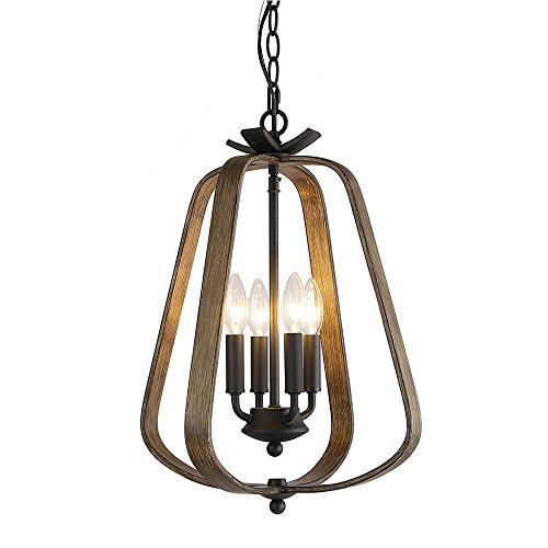 LNC 4-Light Cottage Wood Chandelier Rustic Pendant Lighting A03412