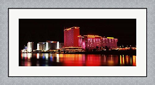Riverside Casino, Laughlin, Clark County, Nevada by Panoramic Images Framed Art Print Wall Picture, Flat Silver Frame, 35 x 17 - Laughlin Of Nevada Images