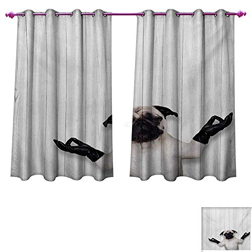 Animal Room Darkening Wide Curtains Spiritual Funny Bulldog with Leather Gloves on Wood Board Funny Cute Image Print Waterproof Window Curtain W55 x L72 Black White ()