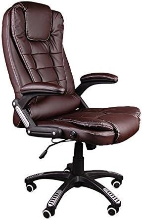 Giosedio BSB Massage Fauteuil élégant pour Bureau, siège en Cuir Confortable, Chaise inclinable, inclinable, Chaise Bureau, Fauteuil Bureau Simili Cuir, Hauteur réglable, pivotant (Marron)