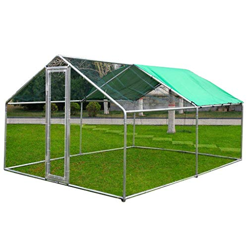 Idealchoiceproduct 10x10ft Large Metal Chicken Coop Walk-In Chicken Coops and Runs Backyard Hen house Farm Ranch Run Walk in Poultry Cage