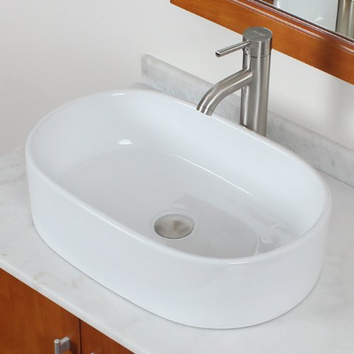 ELITE Bathroom Long Oval Ceramic Porcelain Vessel Sink & Brushed Nickel Single Lever Faucet Combo delicate