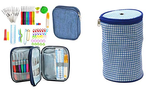 Crochet and Yarn Kit Including Ergonomic Soft Handle Hook & Needle Set with Accessories, 72 pc and Small Blue Plaid Yarn Bag