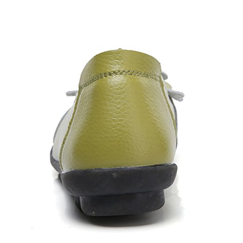 Driving Women's Flat Z Loafer Slip Moccasin on Leather Casual Green Shoes joyee F70Bq4