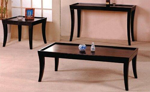 Amazon Com 3 Pc Espresso Finish Wood Coffee Table Set With Raised Edges Kitchen Dining