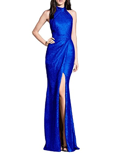Women Blue s Halter Sequins Gowns Evening Long ASBridal Split Prom Dress Party RdHnaxd