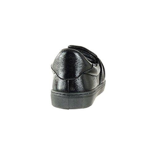 Brillant Baskets on Noir 5 Plat 2 Femme Mode Chaussure Talon Cm Slip Papillon Angkorly Noeud ESF8qx