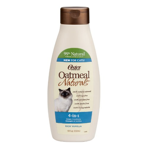 Oster 078590-765 Oatmeal Naturals 4-in-1 Cat Shampoo Plus, 18-Ounce
