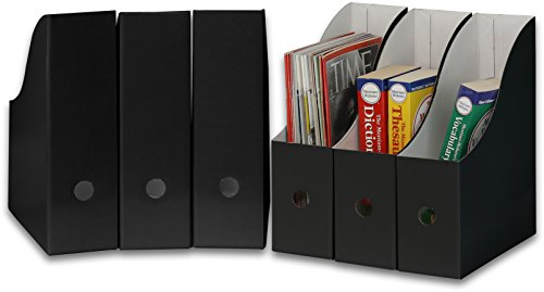Simple Houseware Black Magazine File Holder Organizer Box (Pack of 6) ()
