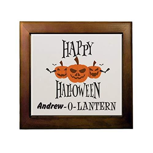 Custom Text Personalized Halloween Happy Halloween Scary Pumpkin O Lantern Ceramic Tile in Wood Frame ()