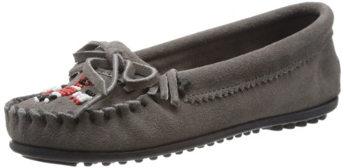 Minnetonka Women's Thunderbird II Moccasin,Grey Suede,6.5 M US