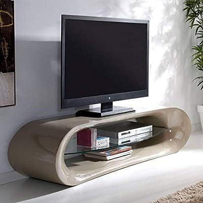 KAÏNA-Mueble para televisor con diseño de fibra de vidrio, color marrón brillante y una Estantería de vidrio templado: Amazon.es: Hogar