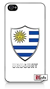 The Best Uruguay Flag Badge Direct UV Printed (not a sticker) iPhone 4 Quality Hard Snap On Case for iPhone 4 4S 4G - AT&T Sprint Verizon - Black Frame by heywan