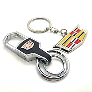 Amazon.com: Jhaze 2Pack Leather Car Logo Keychain Set for ...